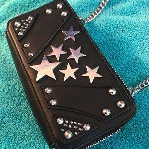 Nasty Gal Black Crossbody with Chain & Star Studs